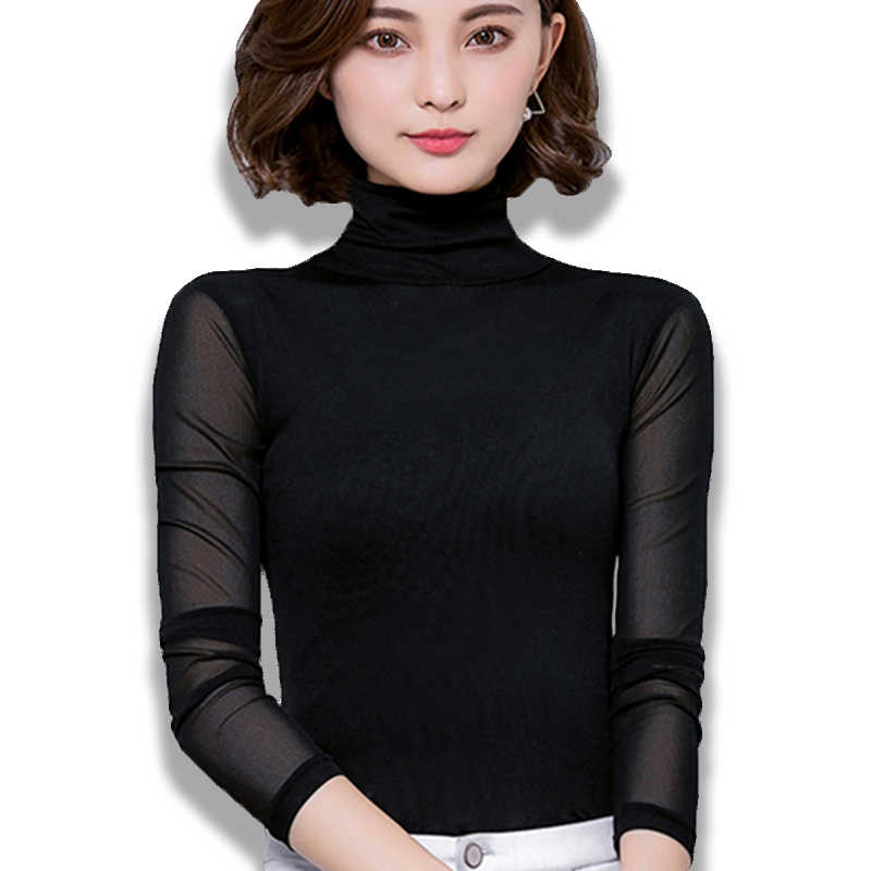 Sexy Mesh Blouse Women Turtleneck Long Sleeve Tops Elasticity Black Shirt Silm Blusas Mujer De Moda 2019 Casual Tight Shirts New