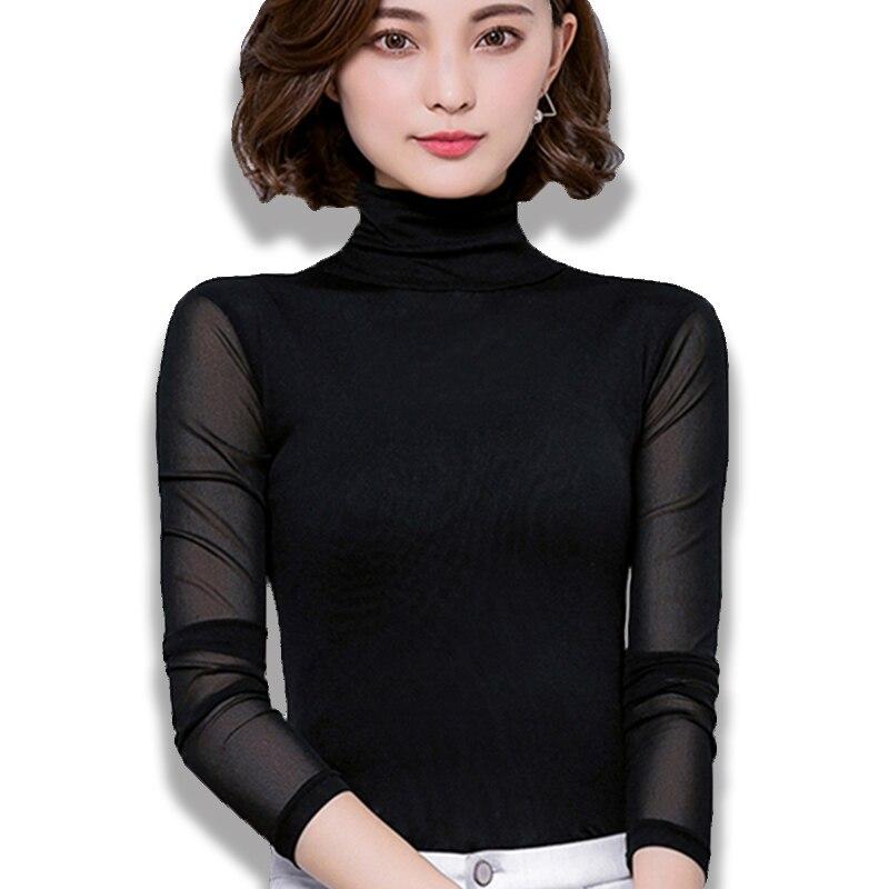Sexy Malha Blusa Mulheres Gola Manga Comprida Tops Camisa Elasticidade Preto Silm Blusas Mujer de Moda 2019 Casuais Camisas Apertadas nova