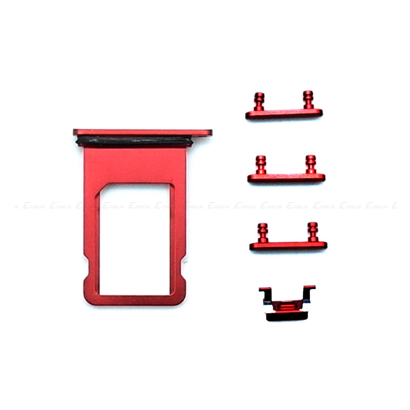 China Red For IPhone 8 8 Plus Sim Card Tray Slot Holder Or Power Volume Mute Side Button Key Repair Parts