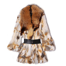 2016 free shipping real natural rabbit fur coat with big raccoon fur collar for women fur jacket female long winter brown color