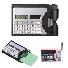 Мини Портативный 3-в-1 Портативный 8-разрядный калькулятор на солнечной батарее Бизнес держатель для карт шариковая ручка