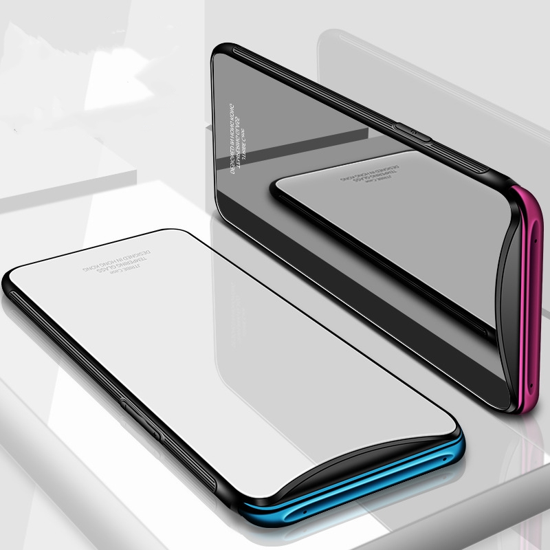 Flyfeng For OPPO Find X Case Luxury Hard Tempered Glass Armor Case Covers For OPPO FindX Find X Soft Silicone TPU Frame Fundas  (4)