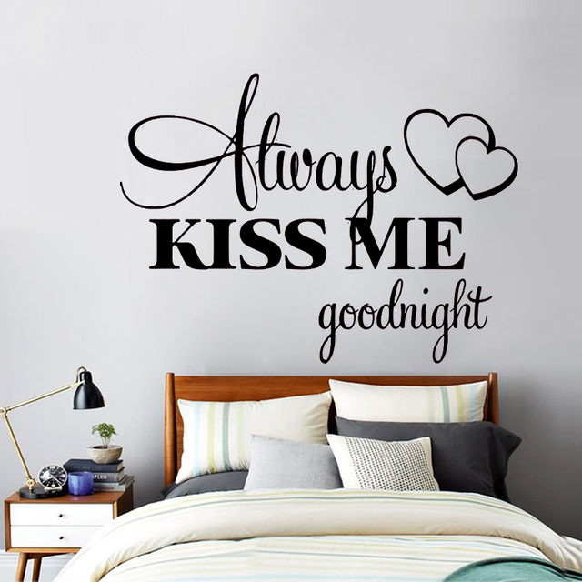 Free Shipping Romantic Wall Sticker Love Wall Stickers Eco Friendly Bedroom  Quotes Alway Kiss Me