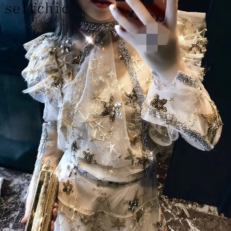 Girls Excessive High quality Classic Embroidered Blouses Designer 2019 Feminine Stars Sequin Tops