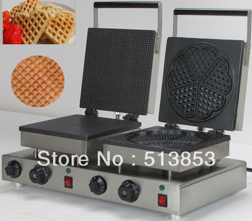 Free Shipping, High Quality Doulbe-Head Electric Ice Cream Cone + Heart Shape Waffle Maker Machine Baker free shipping high quality doulbe head electric cream cone round waffle maker machine baker