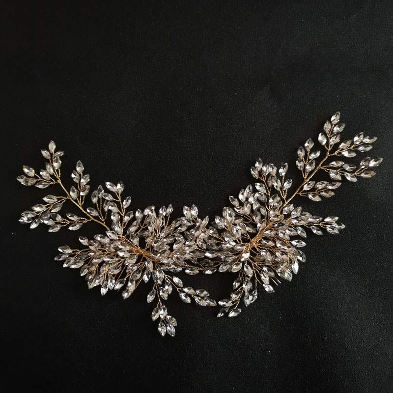 SLBRIDAL Handmade Wired Rhinestones Wedding Hair Comb Bridal Headpieces Crystal Hair Accessories Bridesmaids Women Jewelry in Hair Jewelry from Jewelry Accessories