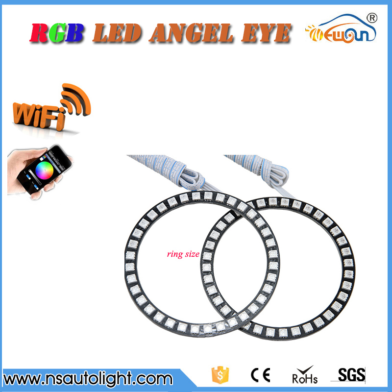 One Pair WIFI Control Color Change LED Halo Rings kit  40/50/60/66/72/75/80/90mm outer diameter Led Angel Eyes Full Circle 3 speed change remote and manual control 60 90 120 secs circle 60x10cm electric turntable display stand rotary model show