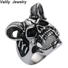 EdgLifU Drop Ship US Size 7-14 Cool Horn Goat Skull Ring Stainless Steel Mens Motorcycle Biker Zombie Vampire Skull Ring For Men r006 7 skull shaped stylish titanium steel ring silver us size 6