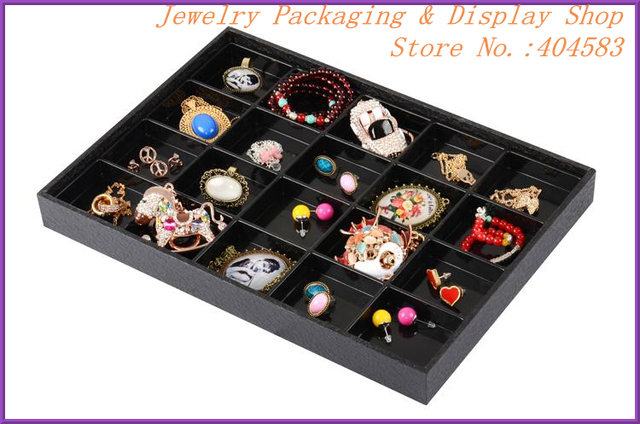 Black 20 slots jewelry box with many compartments no lid plasticin