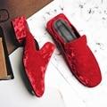 Черный Синий Красный Бархат Верха Элегантные Площади Toe Толстые Каблуки Женская Обувь Европейский Стиль Мода Красивая Женская Обувь