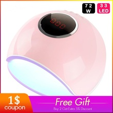 UV LED Lamp For Nails Dryer 80/72/24W Lamp For Manicure With Timer LCD Display For All Gel Nail Polish Curing Nail Art Tool Lamp new led nail lamp sunuv 9s smart lamp nail led uv lamp dryer 24w metal bottom lcd timer for curing uv gel polish nail art tools