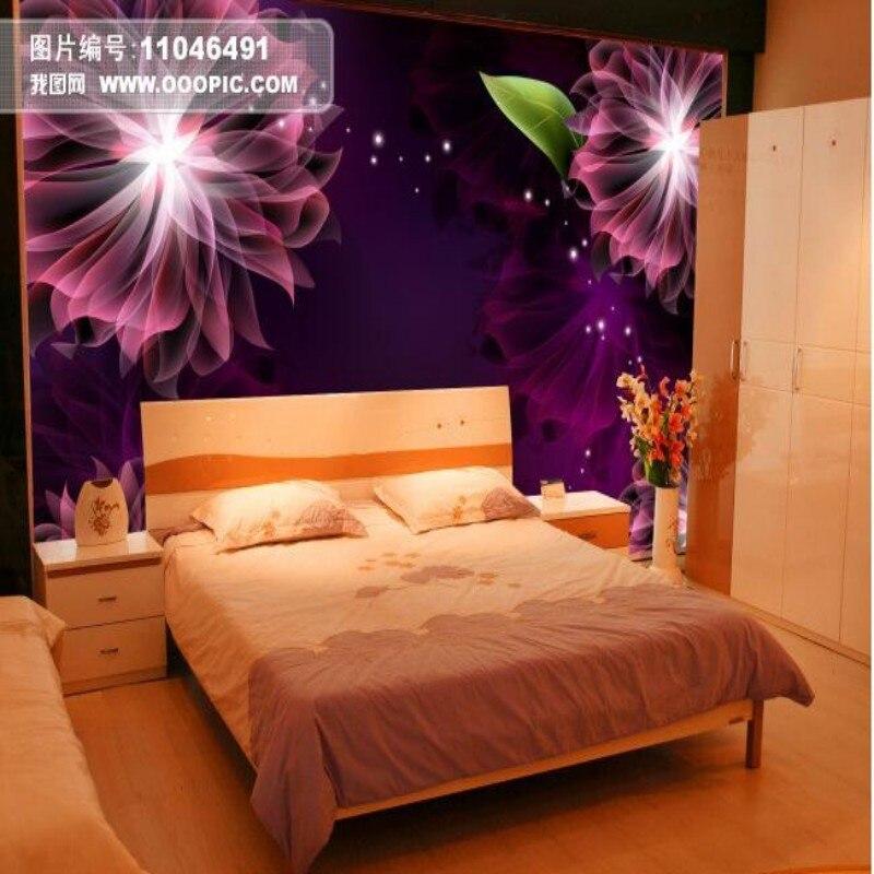Beibehang 3D Wallpaper Custom 3D Ungu Bunga Estetika Modern 3d Living Room Latar Belakang Dinding Lukisan