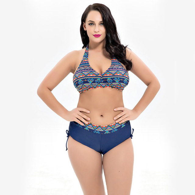 fba2027ae67b7 Plus Size Bikini Set Brazilian Tanga Halter Swimwear Women Swimsuit 2019  Female Swim Bathing Suit Bather Push up Beach Wear 5XL