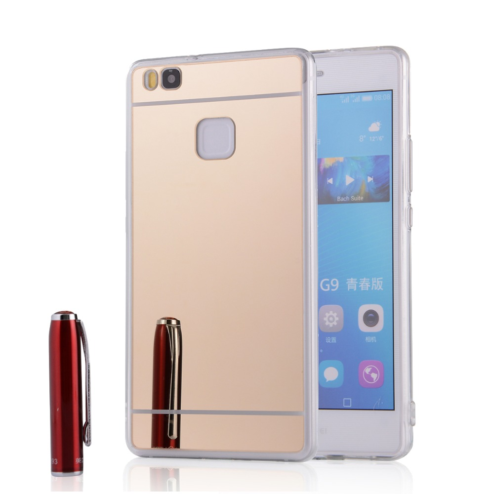Coque For Huawei P8 / P8 Lite Clear Plating Soft Transparent TPU Mirror Case For Huawei Acsend P9/P9 Lite Gold Silver Back Cover