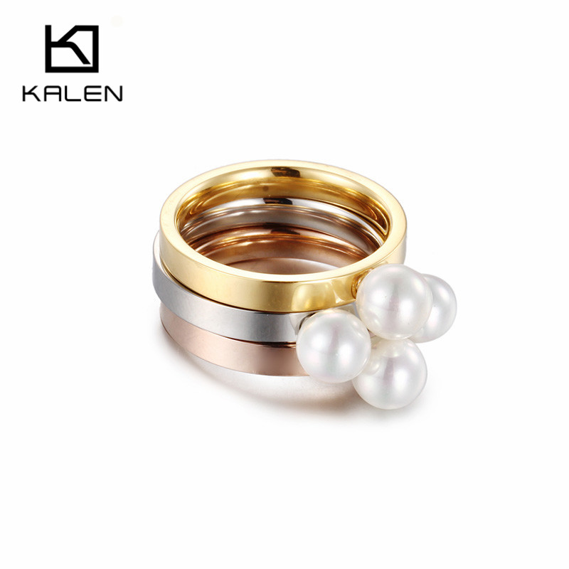 kalen tri color women rings plastic pearl stainless steel gold rose gold silver color engagement rings bands girls party gift - Plastic Wedding Rings