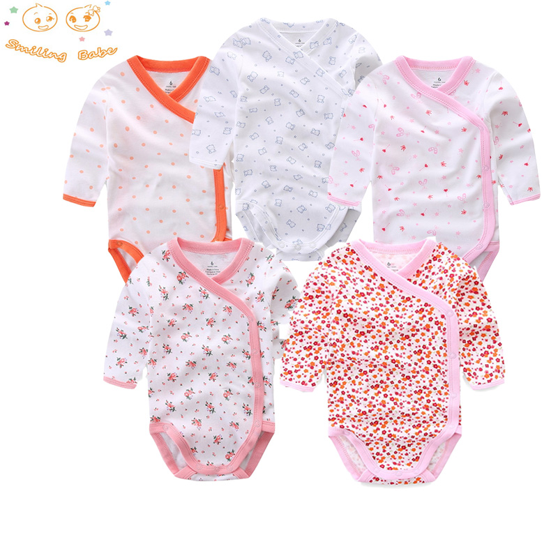 Smiling Babe 5Pcs/Lot Long Sleeves Baby Romper Soft Cotton Fashion Baby Clothes Cartoon Printed Newborn Baby Boys Girls Clothes mother nest baby romper 100% cotton long sleeves baby gilrs pajamas cartoon printed newborn baby boys clothes infant jumpsuit