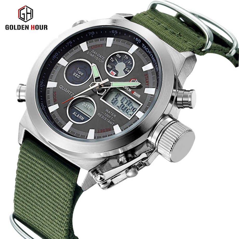 Reloj Hombre GOLDENHOUR Top Luxury Brand Sport Men Watch Quartz Date Display Canvas Strap Military Wrist Watch Relogio Masculino