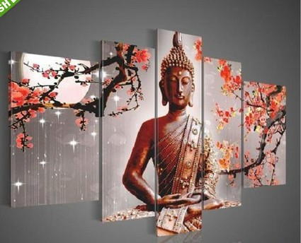 Hand painted buddha paintings canvas modern entrance for Canvas mural painting