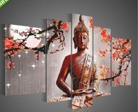 Hand painted Buddha Paintings Canvas Modern Entrance Decorative Painting Mural Unframed 5 Panel Canvas Art Oil Painting Religion