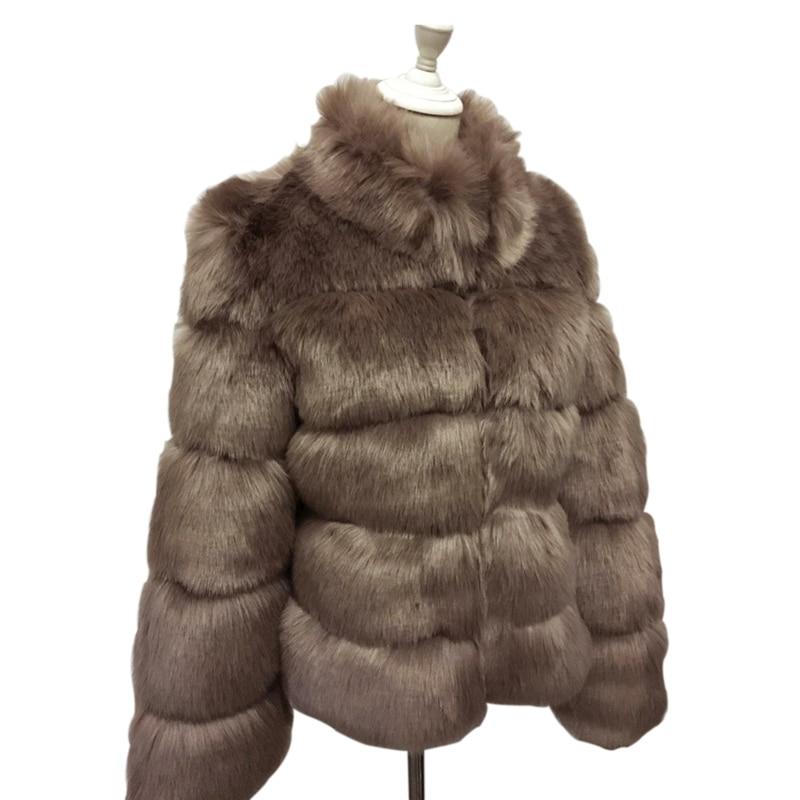 ZADORIN 2019 Nouveau manteau d'hiver femmes Faux fourrure De Renard Manteau grande taille Femmes col montant à manches longues Fausse fourrure Veste De fourrure gilet fourrure - 5