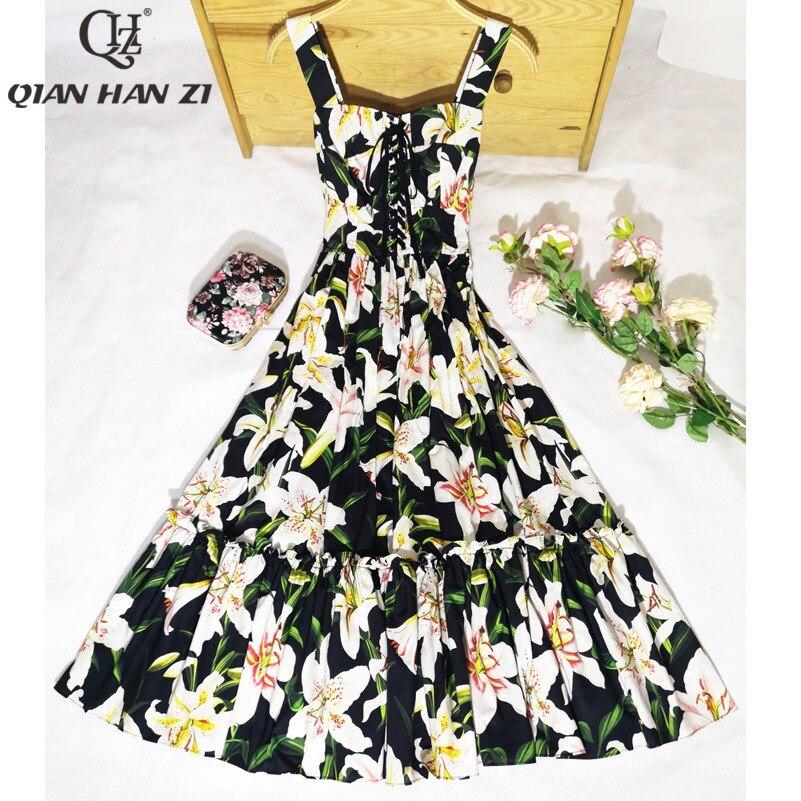 Qian Han Zi nouveau Designer mode femme sexy robe Spaghetti sangle Floral imprimé Slim Vintage haute qualité coton robe mi longue-in Robes from Mode Femme et Accessoires on AliExpress - 11.11_Double 11_Singles' Day 1