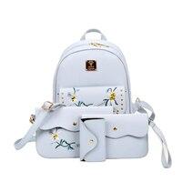 2017 Hot Sale 4 Bag Set New Girl Backpacks Brand Designer Women Bag Embroidery Letter Top