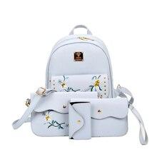 Горячая Распродажа 2017 года 4 bag/set Новая девушка рюкзаки Брендовая Дизайнерская обувь женская сумка с вышитыми буквами Топ-ручка модные сумки на плечо