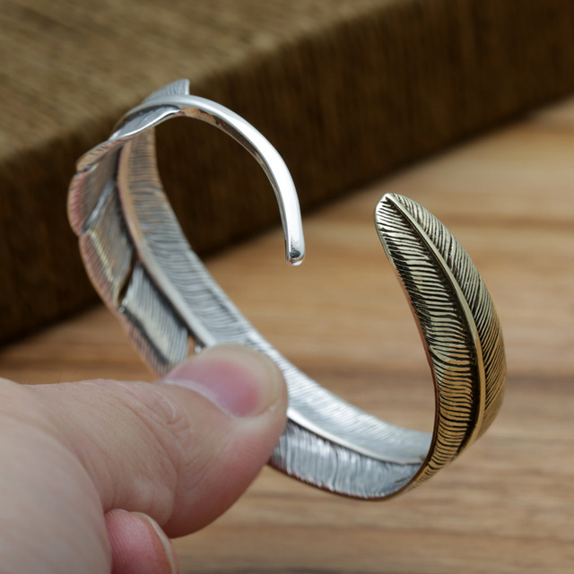 Real Solid 925 Sterling Silver Jewelry Vintage Feather Bangle Bracelets For Women and men Opening Antique Japan Fine Jewelry