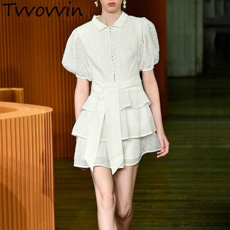 TVVOVVIN Vintage évider femmes robe Stand manches bouffantes taille haute à lacets volants Mini robes femme élégant Summer2019 V062