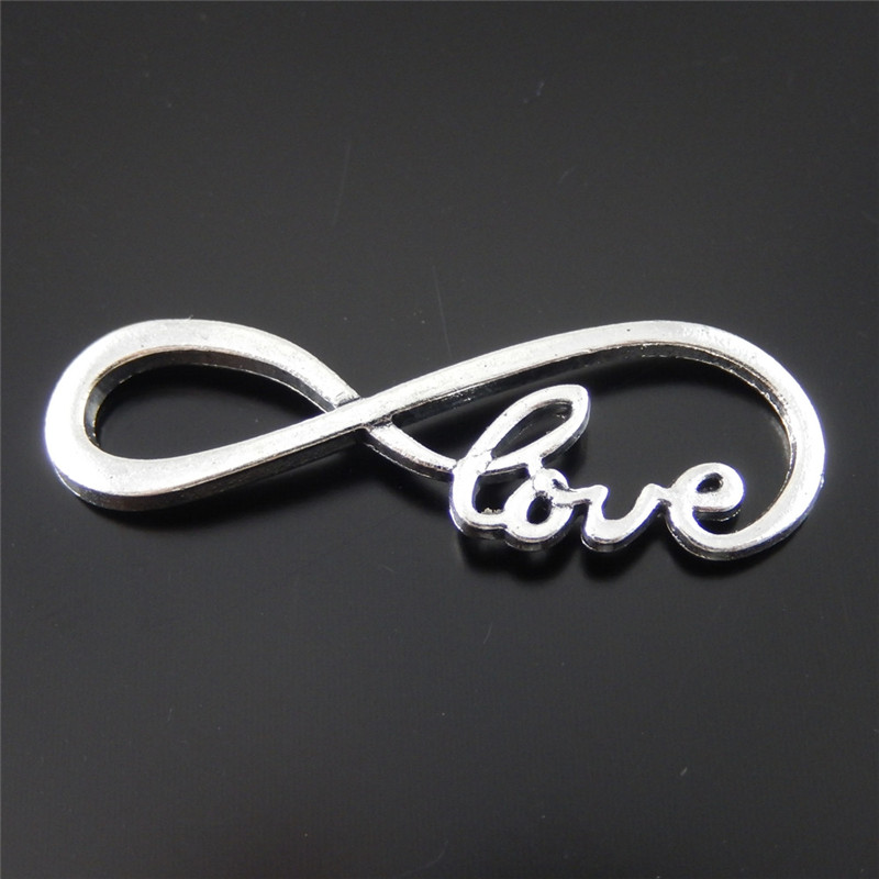 Julie Wang 10PCs Alloy Charm Retro Silver Plated 8 Infinite Sign Connectors Pendant Charms Handmade Hanging Tops