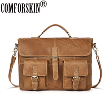 COMFORSKIN Brand Business Men Briefcase Cow Leather 100% Guaranteed 2017 Large Capacity Fashion Handbags & Cross-body Bags