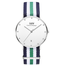 IW D8758G-Three males's and girls's Quartz-Watch material Classic Canterbury Stainless Steel Watch With Multi-Color Striped Band