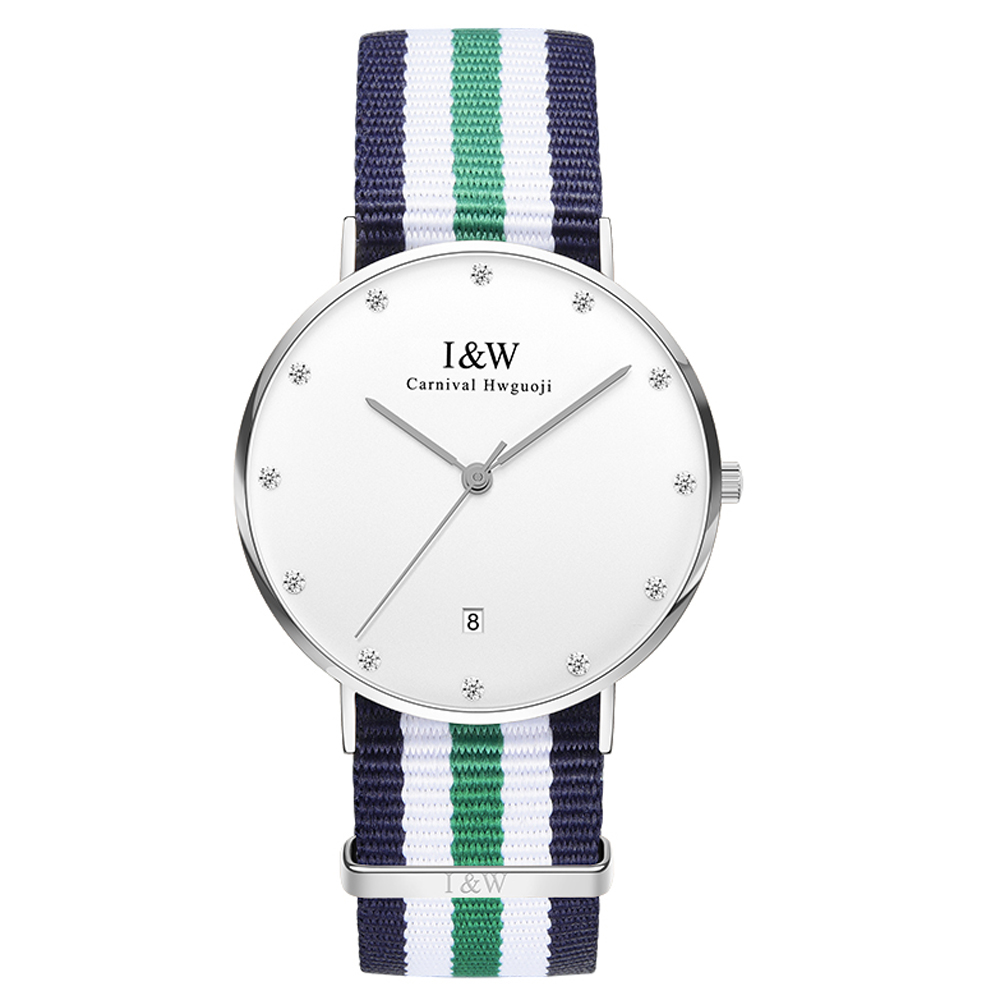 IW D8758G-3 men's and women's Quartz-Watch fabric Classic Canterbury Stainless Steel Watch With Multi-Color Striped Band