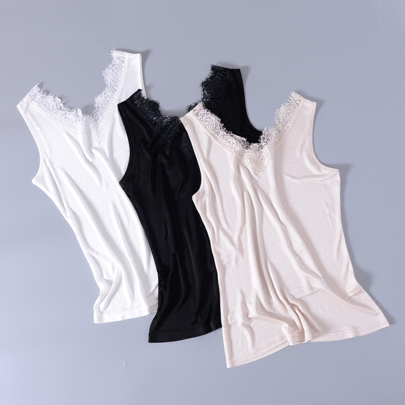 Camis Women Tank Tops 100 Silk Knitted Elastic Fabric Solid 3 Colors Simple Design High Comfort