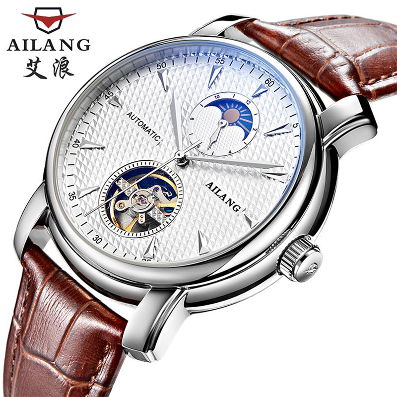 AILANG watches the new listing business dress watch automatic date men steel Tourbillon mechanical watch original binger mans automatic mechanical wrist watch date display watch self wind steel with gold wheel watches new luxury