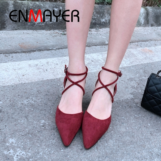 ENMAYER 2019 Women  Basic Med High Spring/autumn Shoes  Flock  Round Toe  Wedding Solid Pumps Women Size 34-43 LY1850