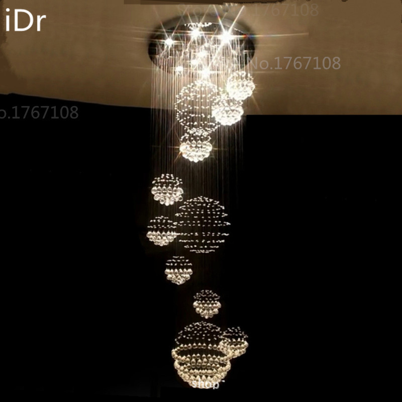 Us 598 0 50 Off Europe Crystal Ball Lamp High End Hotels And Villas Clubs Stairs Light Led Project Chandeliers Hanging Wire In From