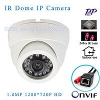 Chất lượng cao Onvif 1280*720 P HD 1.0MP HD Nhỏ Camera Dome IP IR Night Vision ip cam P2P Cắm Chơi CCTV An Ninh camara, Miễn Phí Vận