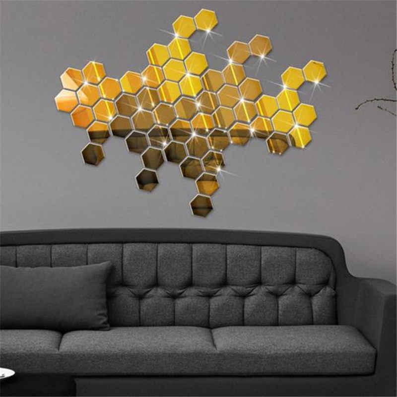 12pçs 3d adesivo de hexágono espelhado, adesivo de parede removível de acrílico, decalque de decoração de casa, sala de estar, arte moderna mural diy