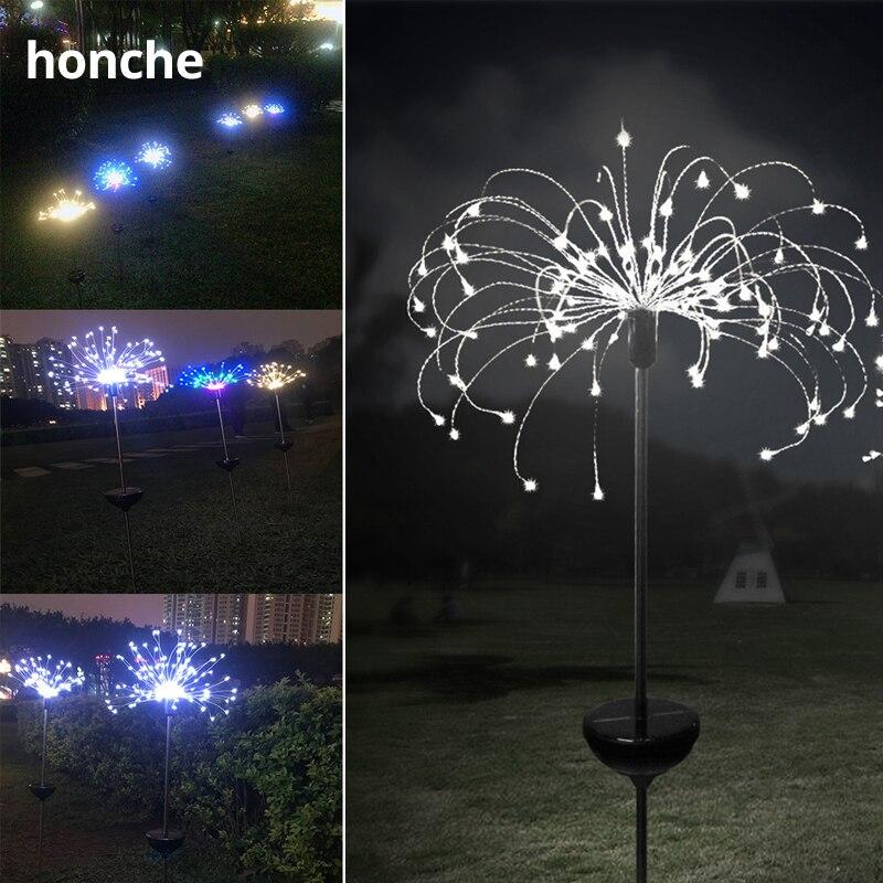 2pcs Remote Control Solar LED Fireworks Waterproof Copper Light Landscape Festive Holiday Garden Fairy Starburst Dandelion Light in Holiday Lighting from Lights Lighting