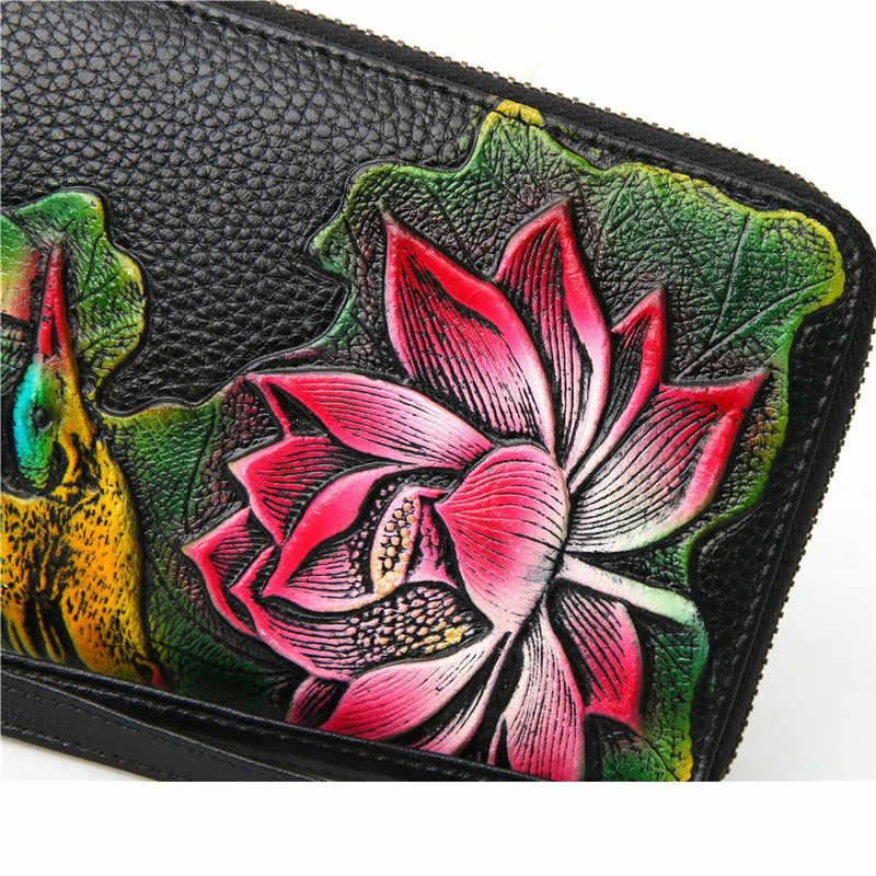 2020 Nieuwe Lederen Portemonnee Vrouwelijke Lange Vrouwen Portefeuilles En Portemonnees Luxe Merk Clutch Purse Bloemen Real Leather Money Bag