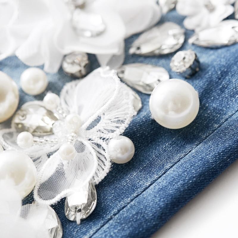 Flor Rebordear 2018 Con La Blanco Moda Casuales Pantalones Mujeres Stretch Mujer De Nuevas Denim Los Tq0SRUw