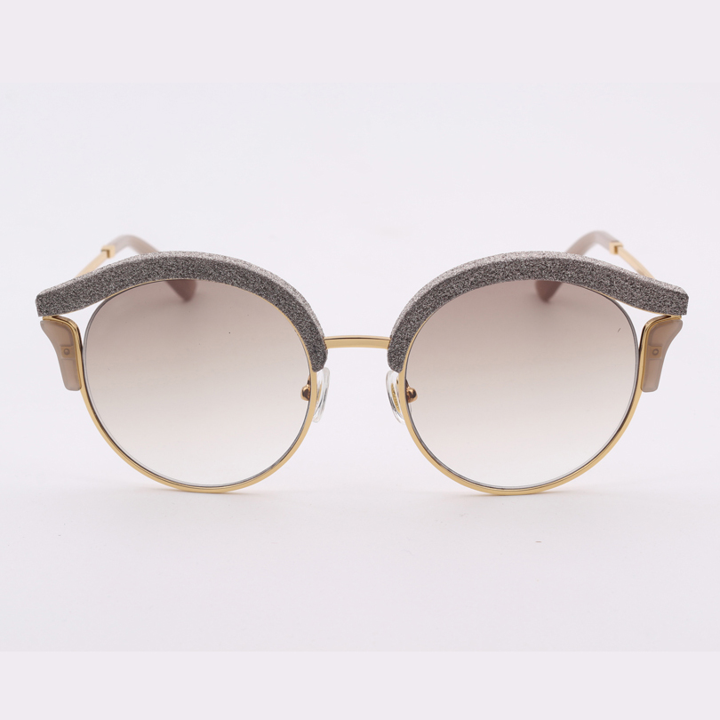 High quality cat eye frame blue mirror lens fashion women sunglasses with Glitter
