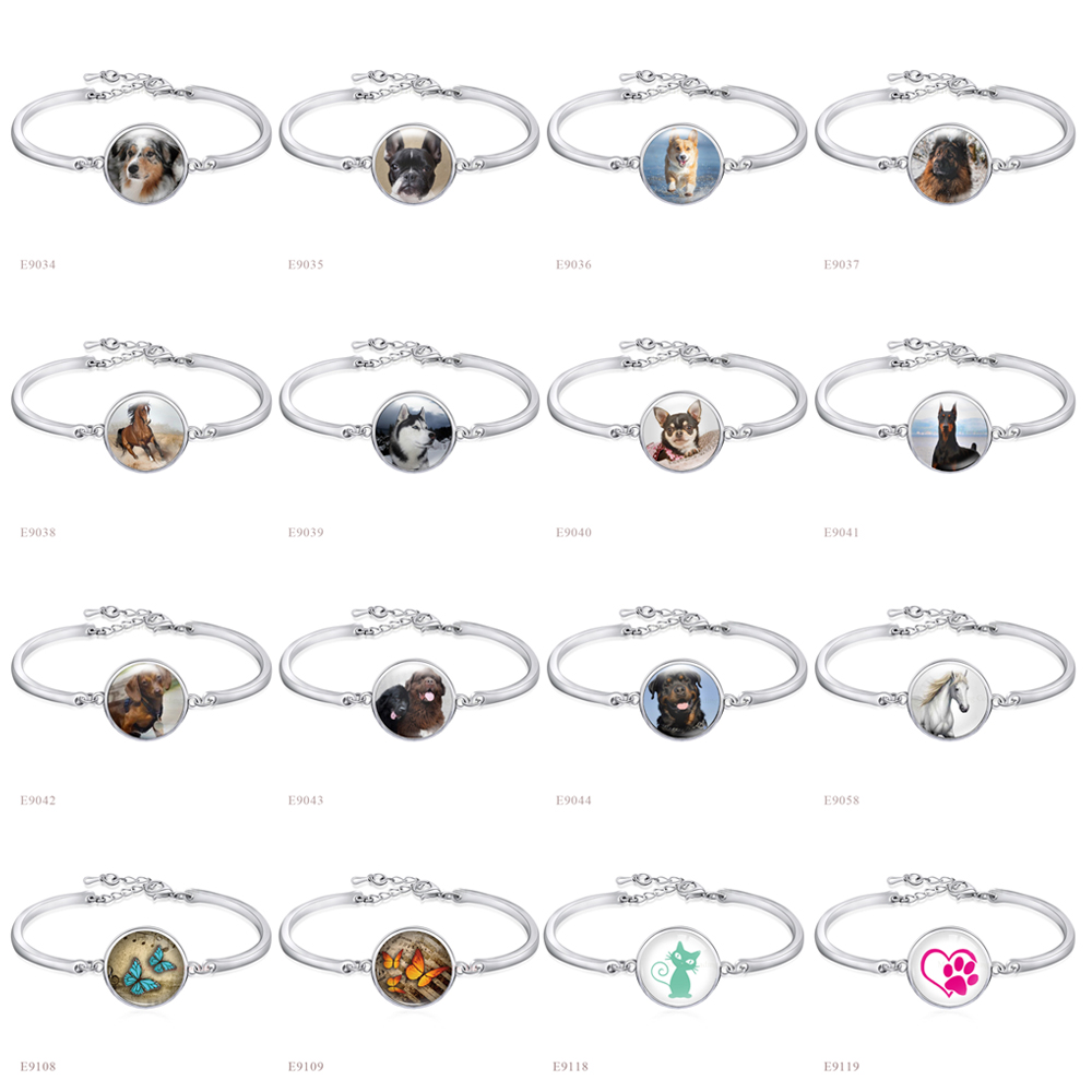 Horse Cat <font><b>Dog</b></font> Mom Paw Animal Silver 18mm Glass Cabochon Charm Bangles Adjustable Metal <font><b>Bracelets</b></font> Women Men Boy Girl Jewelry image