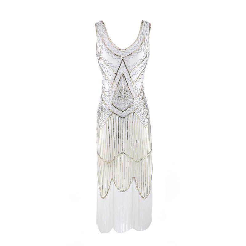 9c068f1a282 1920s Gatsby Charleston Sequin White Bead Fringe Flapper Dress Vestido Robe  Double V-Neck Sleeveless