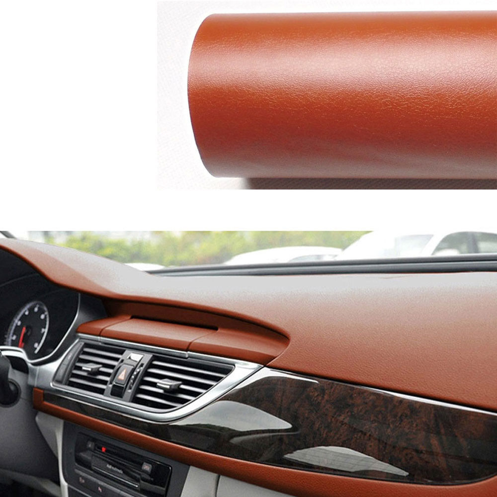 BBQ@FUKA Leather Texture Trim Sheet Film Decal Sticker Brown Car Interior Styling Accessories 60x 39 For Universal Audi VW Kia