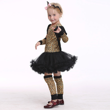 Christmas Costumes Halloween Kids Girls Leopard Cosplay Fancy Dress New Year Children Clot EK159
