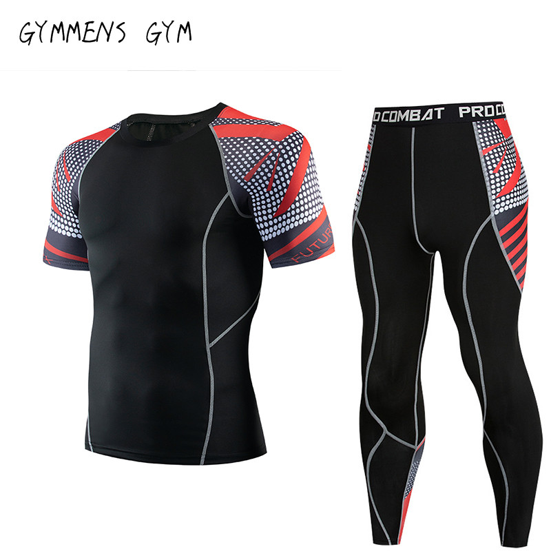 2019 New Men's Sports Short Sleeve + Trousers Fitness Suit Compression Shirt MMA Fitness Men's Quick-drying Clothes Sportswear