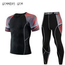 2019 новый мужской спортивный с коротким рукавом + брюки фитнес костюм компрессионная рубашка MMA