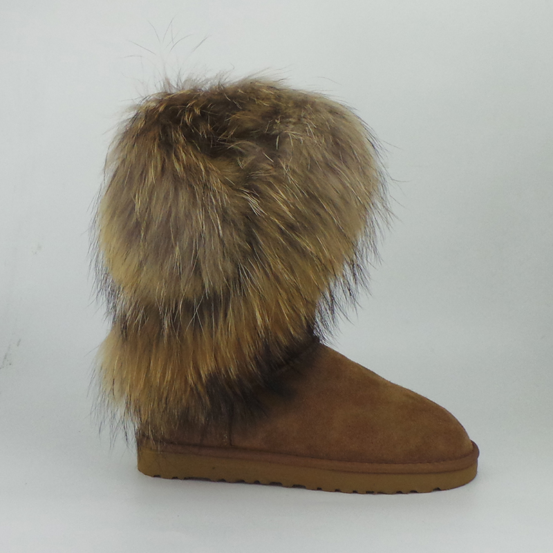 ФОТО UVWP Top Quality 100% Genuine Leather Women's Snow Boots Fashion Big Natural Fox Fur Winter Boots Warm Mid Boots Women Shoes
